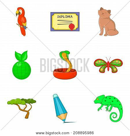 Biology icons set. Cartoon set of 9 biology vector icons for web isolated on white background
