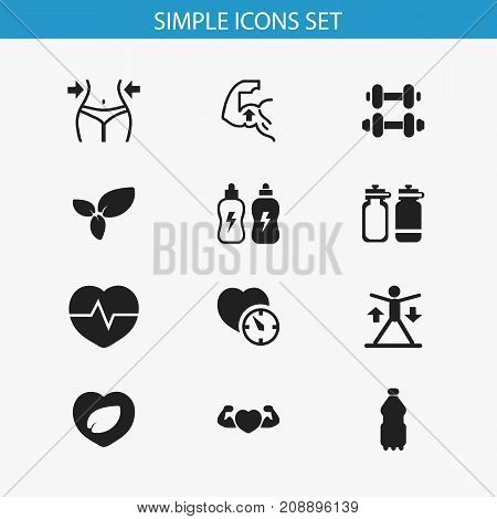 Set Of 12 Editable Fitness Icons. Includes Symbols Such As Leaf In Heart, Muscle, Sport Water And More