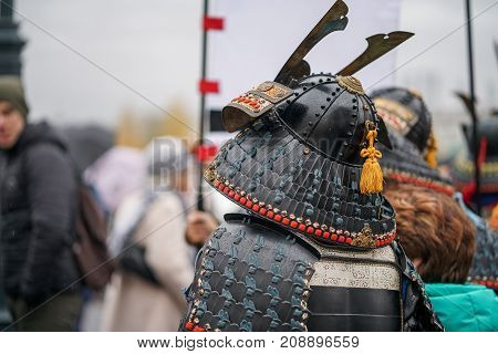 Samurai armour and helmet. Carnival costumes. Soldiers on outside