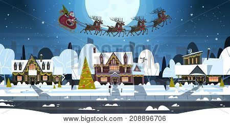 Santa Flying In Sledge With Reindeers In Sky Over Village Houses, Merry Christmas And Happy New Year Banner Winter Holidays Concept Flat Vector Illustration