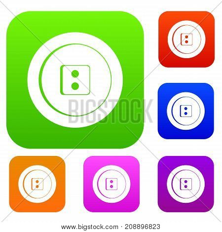 Dress round button set icon color in flat style isolated on white. Collection sings vector illustration