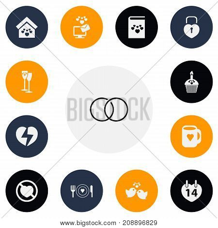 Set Of 13 Editable Love Icons. Includes Symbols Such As Engagement, Domicile, Divorce And More