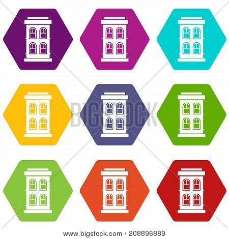 Two-storey house with large windows icon set many color hexahedron isolated on white vector illustration