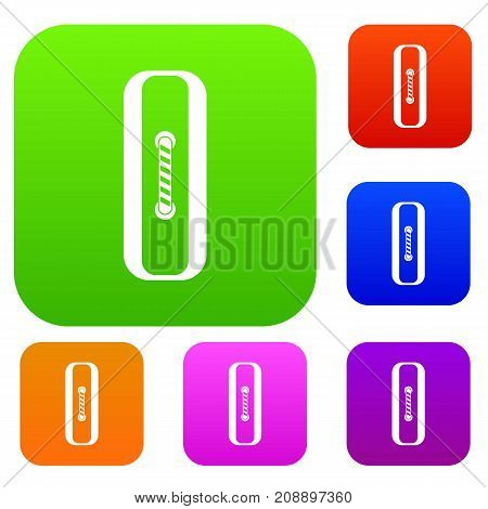 Sewn rectangular button set icon color in flat style isolated on white. Collection sings vector illustration