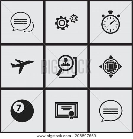 Set Of 9 Editable Mixed Icons. Includes Symbols Such As Chatting, Cogwheel, Achievement And More