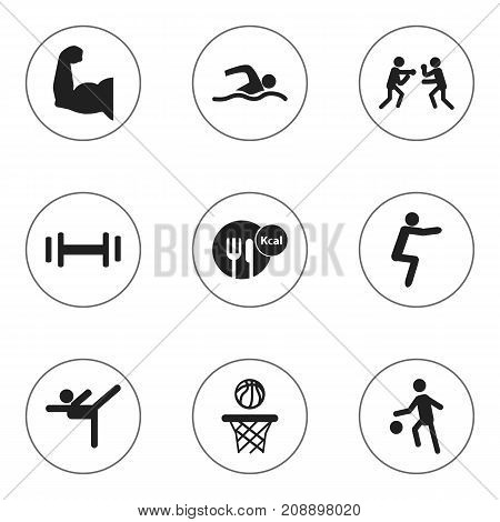 Set Of 9 Editable Healthy Icons. Includes Symbols Such As Training Pool, Basketball, Biceps And More