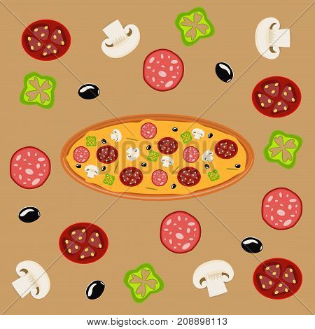 Hot pizza slice with melting cheese baked sauce background meal tomato dinner fresh salami slice delicious fast food vector illustration. Mozzarella pepperoni hot homemade snack