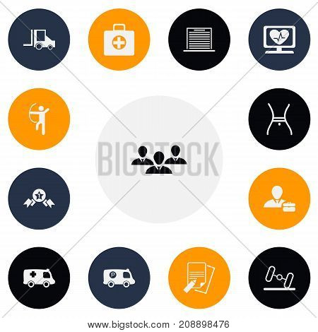 Set Of 13 Editable Mixed Icons. Includes Symbols Such As Bowman, Heart Rhythm, Camion And More
