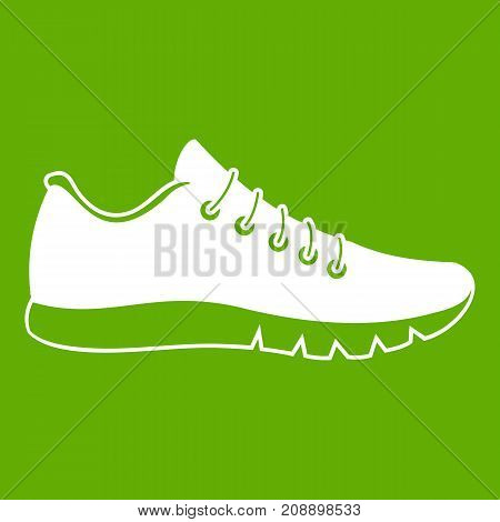 Sneakers icon white isolated on green background. Vector illustration