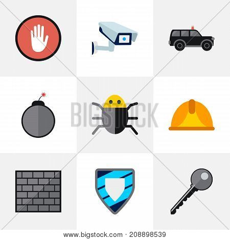 Set Of 9 Editable Procuring Flat Icons. Includes Symbols Such As Virus, Dynamite, Security Camera And More