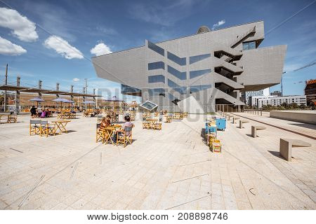 BARCELONA, SPAIN - August 16, 2017: Futuristic building of Design Museum, center of Barcelonas Institute of Culture located on Glories square, was set gradually during 2014