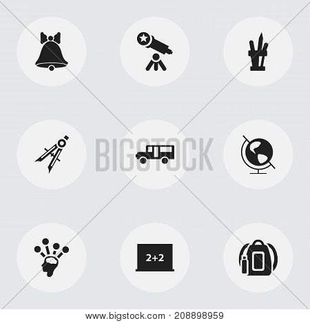 Set Of 9 Editable School Icons. Includes Symbols Such As Measurement, Earth Planet, Jingle And More