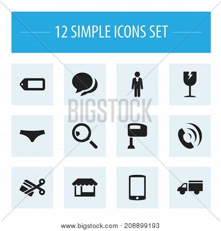 Set Of 12 Editable Business Icons. Includes Symbols Such As Label, Trunks, Stir And More