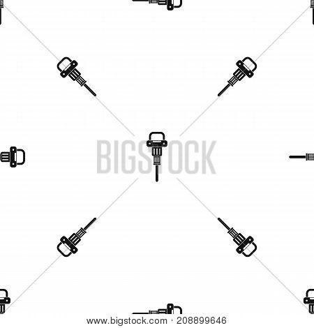 Pneumatic hammer pattern repeat seamless in black color for any design. Vector geometric illustration
