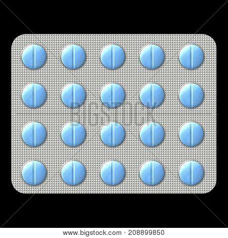 Blue pills in blister pack on black background / isolated 3D illustration