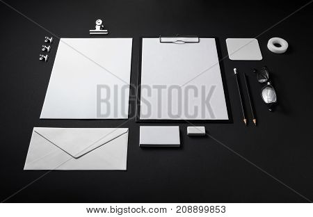 Blank stationery set on black background. ID template. Mockup for branding identity for designers.