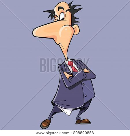 cartoon cunning man in a suit and tie with arms crossed on chest
