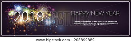 Merry Christmas And Happy New Year 2018 Banner Firework Winter Holidays Greeting Card Concept Flat Vector Illustration