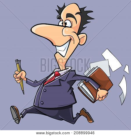 cartoon happy man in suit and tie running with a notepad in hand