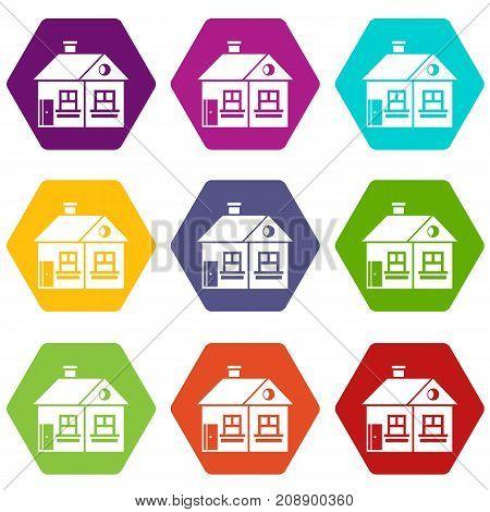 Large single-storey house icon set many color hexahedron isolated on white vector illustration