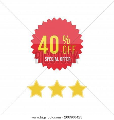 Red Sticker And Stars With 40 Discount. Template Of The Emblem With Special Offer Flat Vector Eps 10