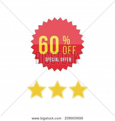 Red Sticker And Stars With 60 Discount. Template Of The Emblem With Special Offer Flat Vector Eps 10