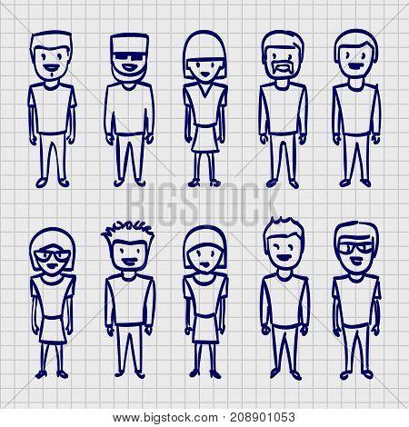 Sketch people sing, Sketch boy, Sketch family, Vector illustration