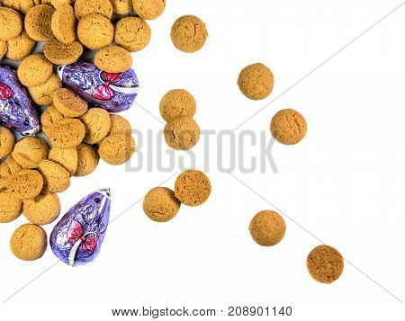 Scattered Bunch Of Pepernoten Cookies And Chocolate Mice
