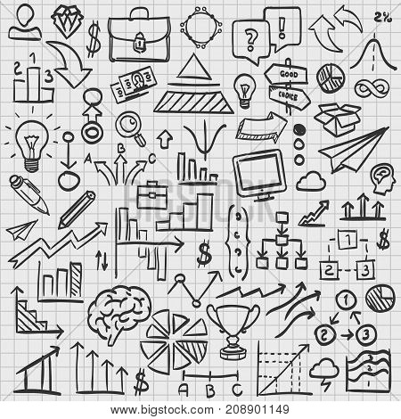 Sketch icons set business, collection arrow scribble, Vector illustration