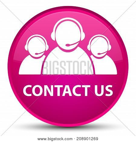 Contact Us (customer Care Team Icon) Special Pink Round Button