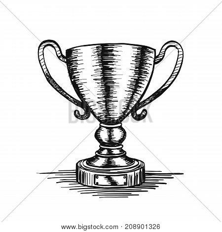 Sketch of hand drawn winner cup vintage. Vector illustration