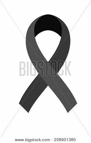 Vector of Black ribbon on white background. Mourning symbol.