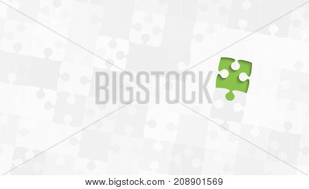 One Green Puzzle Piece on a Grey Puzzles Rectangle - Vector Illustration. Scattered Jigsaw Puzzle Blank Template. Vector Background.