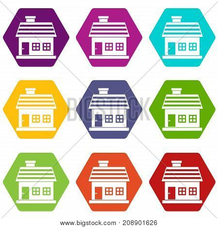 One-storey house icon set many color hexahedron isolated on white vector illustration