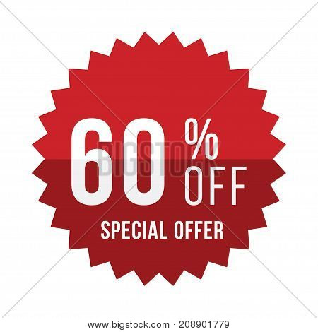 Red Sticker With 60 Discount. Template Of The Emblem With Special Offer Flat Vector Eps 10