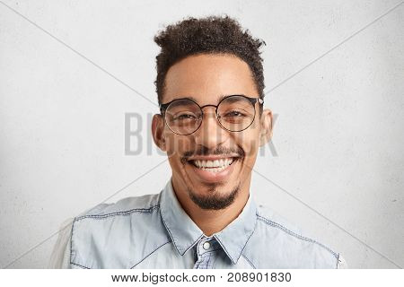 Horizontal Portrait Of Happy Male Enterpreneur Being Glad To Succeed In Marketing Development, Expre
