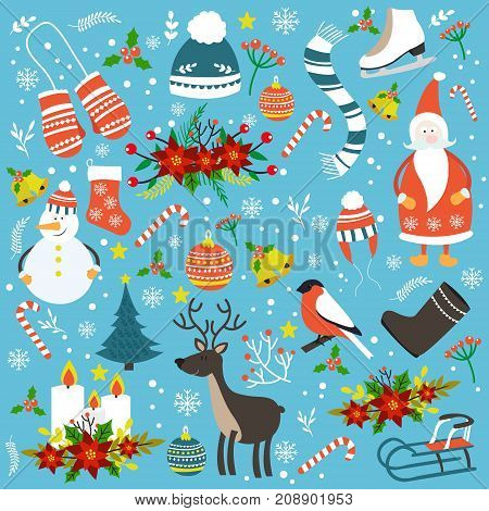 Christmas hand drawn seamless pattern with winter clothes animals sledge holiday symbols on blue background vector illustration