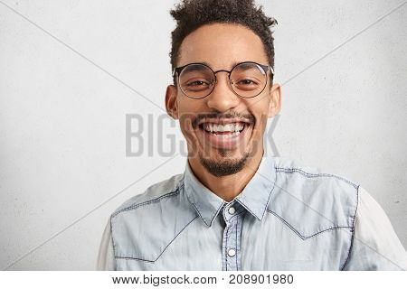 Positive Emotions, Facial Expressions And Happiness Concept. Joyful Man With Oval Face, Mustache And