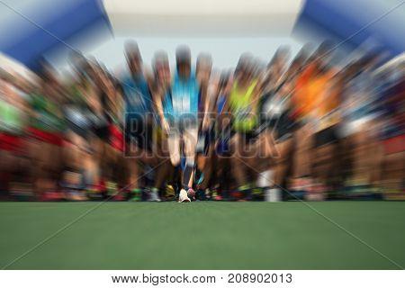 Abstract marathon running race, people feet on the lawn