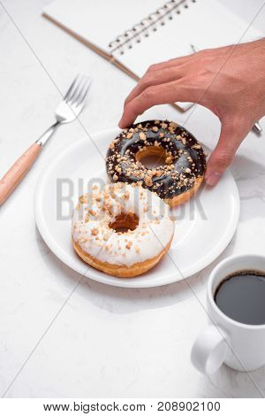 Fast Food Breakfast With Donut And Coffee On Marble Table Top.