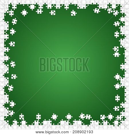 Frame White Puzzles Pieces Arranged in a Green Square - Vector Illustration. Scattered Jigsaw Puzzle Blank Template. Vector Background.