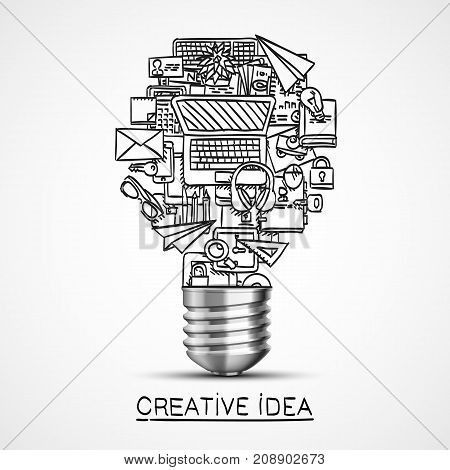 Creative idea of sketch collage icons. Vector illustration