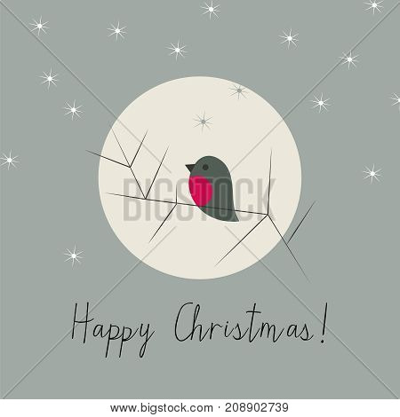 Simple stylish Christmas winter snow greeting card with bullfinch