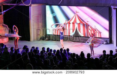 Yalta, Crimea - 11 July, Speech of girls with hoops on stage, 11 July, 2017. Performance of young artists on the stage of the hotel Yalta Intourist.