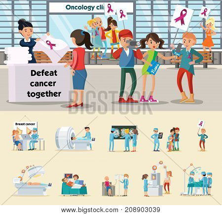 Oncological disease concept with people holding placards with ribbons on world cancer day medical care and examinations vector illustration