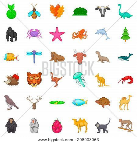 Fauna icons set. Cartoon style of 36 fauna vector icons for web isolated on white background