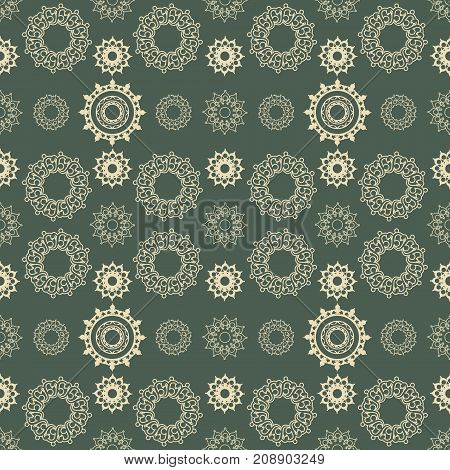 Vector seamless pattern from abstract elements in ethnic style. Mandala design elements