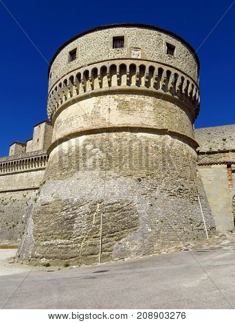 The Renaissance Fortress of San Leo located on a rocky cliff