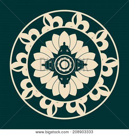 Decorative design element. Pattern with geometric ornaments. Circular ornamental mandala symbol. Indian culture motif. Man in lotus yoga pose