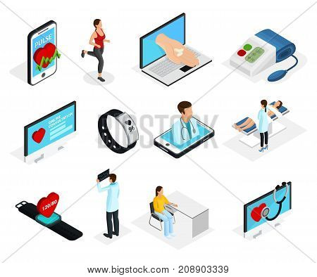 Isometric digital heart monitoring elements set with doctors patients medical diagnostic procedures and electronic devices isolated vector illustration